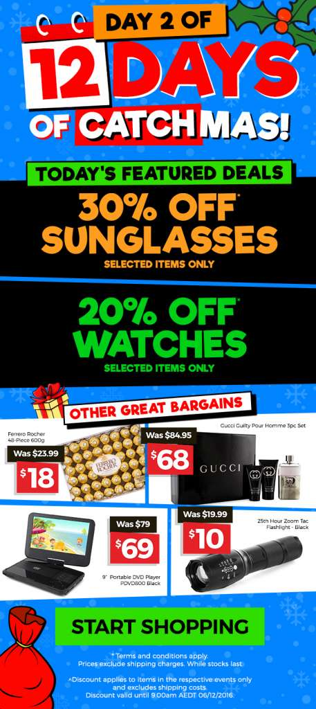 12 Days of CATCHmas: DAY 2 – Get 30% OFF Sunglasses & 20% OFF Watches