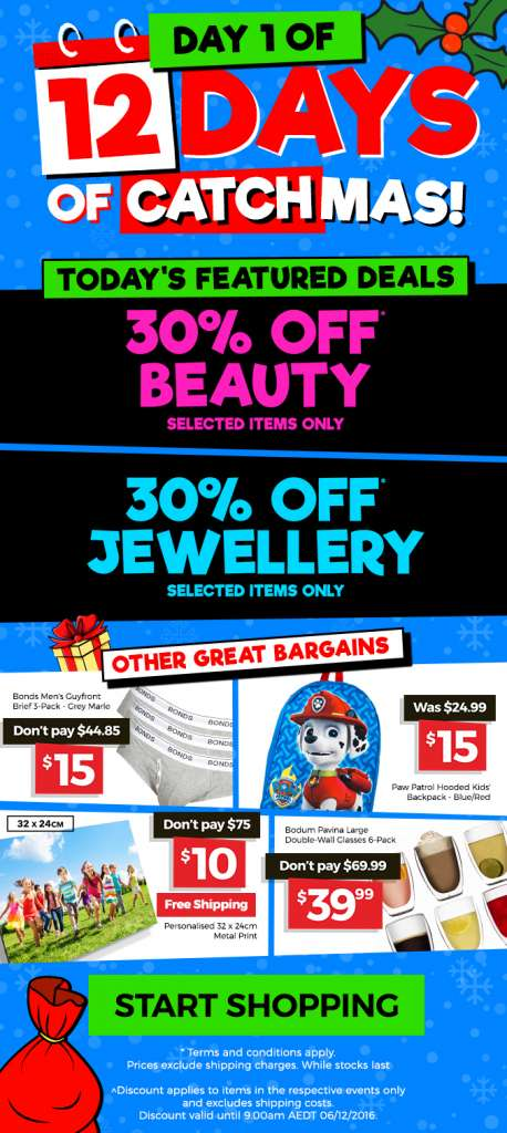 12 Days of CATCHmas: DAY 1 – Get 30% OFF selected Beauty & Jewellery DEALS