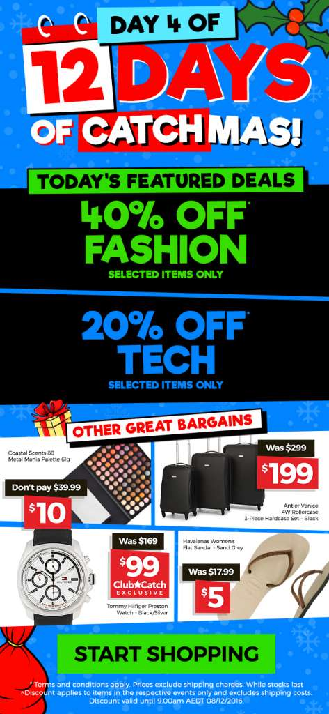 12 Days of CATCHmas: Day 4 – Get 40% OFF Fashion & 20% OFF Tech
