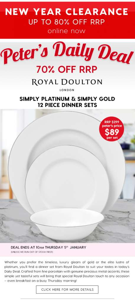 70% off Royal Doulton Simply Platinum & Simply Gold 12 Piece Dinner Sets
