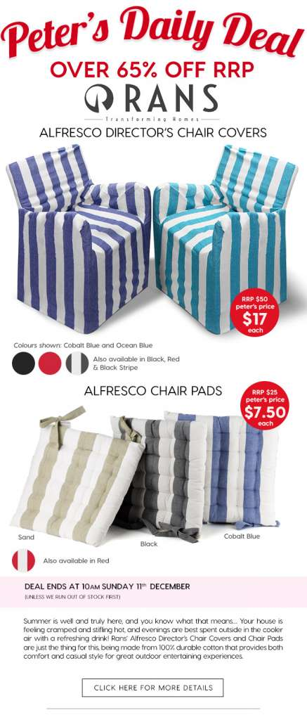 Over 65% Off Rans Alfresco Director's Chair Covers & Chair Pads