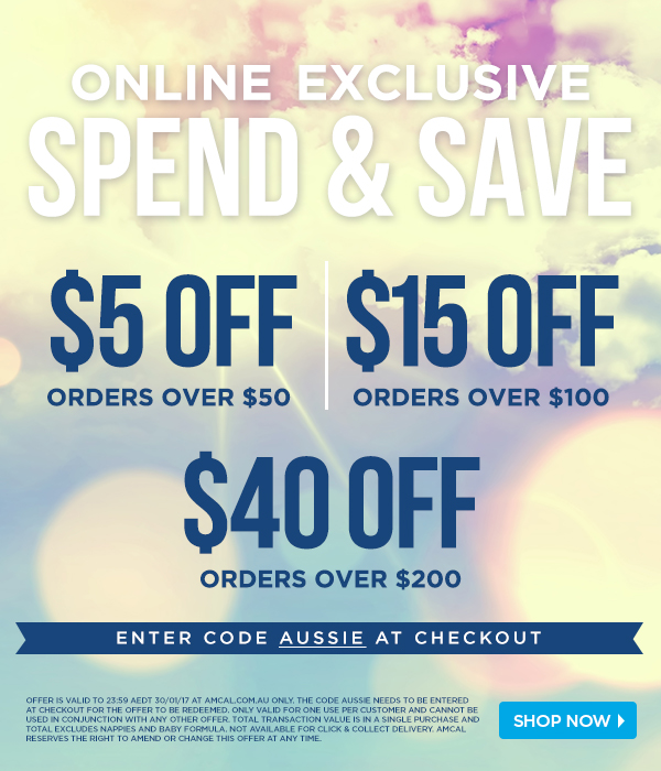 Spend & Save at amcal.com.au. Up to $40 off