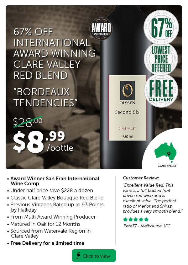 Once Off Price On 96 Pts Halliday Prev Vintage Red. Saνe Up To $620+ A Doz On Clare Valley Clearance.