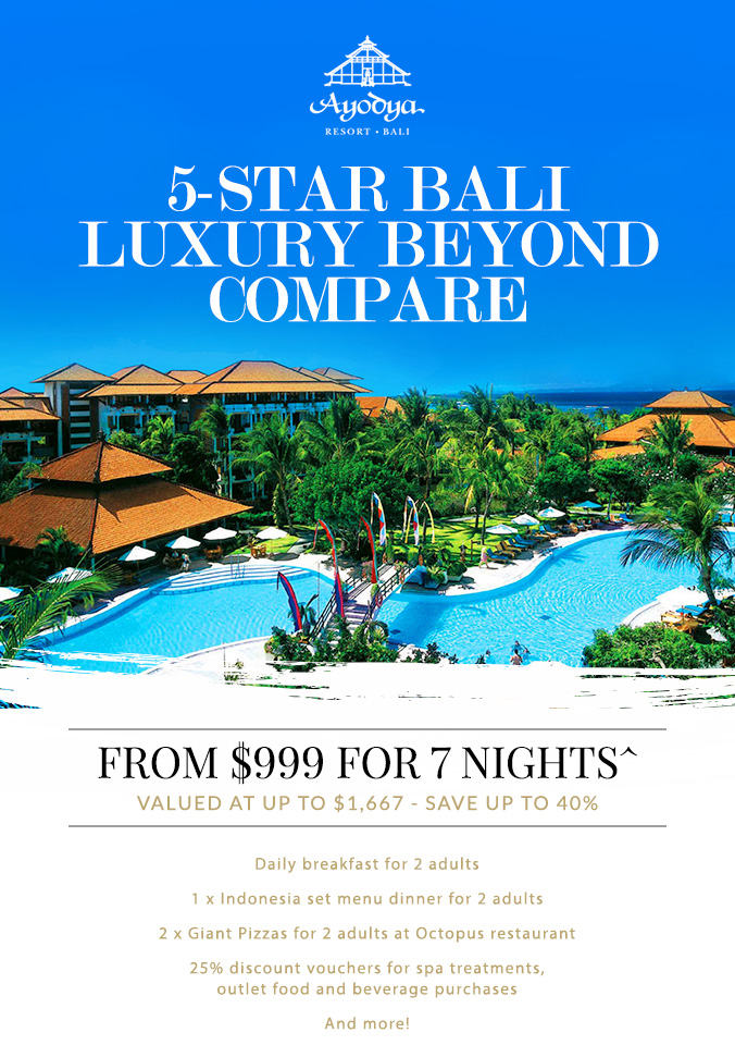 5 star bali beachfront resort 7 nights from 999 deals for Hotels in bali 5 star luxury