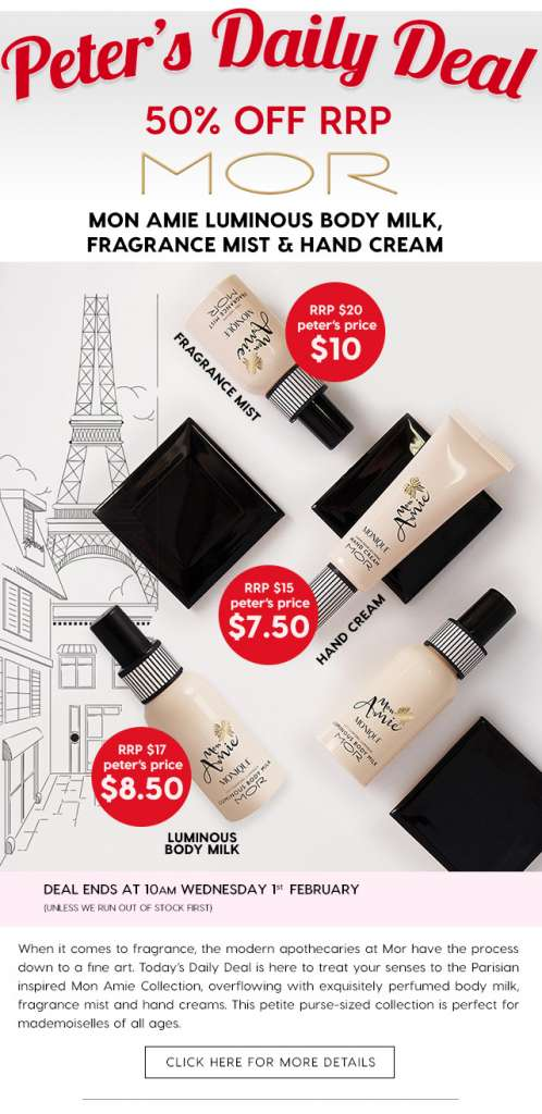 50% off Mor's Mon Amie, a Parisian-inspired fragrance collection