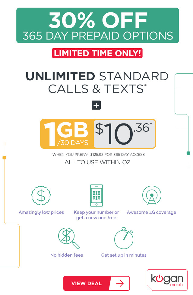 1GB + Unlimited Standard National Calls/Text for $10.36!