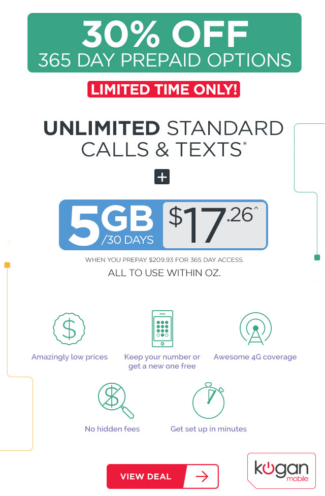 5GB + Unlimited Standard National Calls/Text for $17.26!