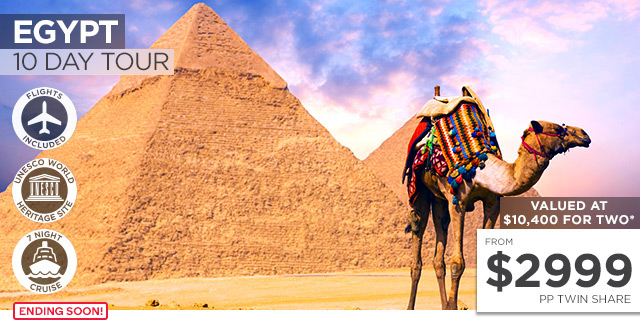EGYPT: 10 Day Ancient Egypt Tour & Nile Cruise Including Flights for Two – $5,998