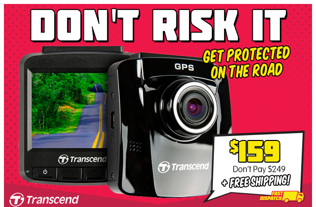 Transcend DrivePro 220 Dash Cam with GPS, Wi-Fi and FREE 16GB MLC Memory Card (TS16GDP220M) $159