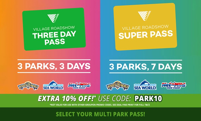 Village Roadshow Theme Parks: 3 Day 3 Parks Pass ($119) or 7